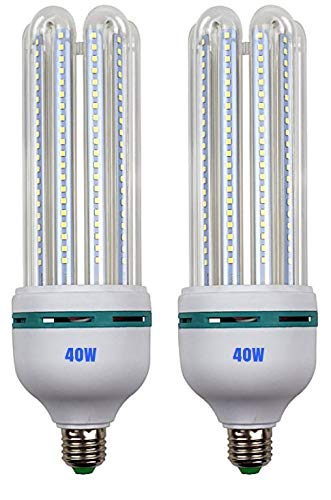 40W LED Corn Light Bulb Daylight 6500k Super Bright 400 Watt equiv. 2 Packs. Large Light Bulbs E26/E27 Cool White Barn, Workshop,Warehouse,Garage,Factory,Porch,Backyard BestCircle