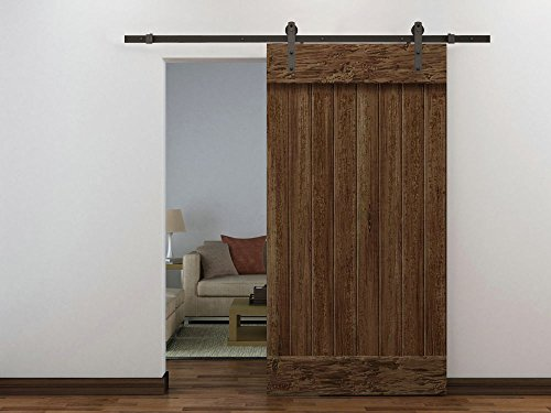 Edxtech 6 FT Dark Coffee Wood Steel Sliding Door Hardware Set Barn Antique Style Closet (Cheap Interior Doors)