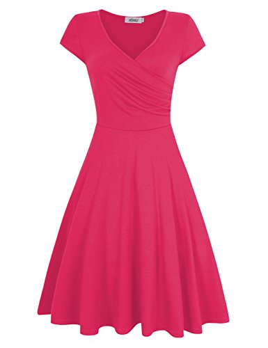 MISSKY Short Sleeve V Neck Dress Pullover Knee Length Elegant Slim Casual Swing Vintage Cocktail Summer Dresses for Women (S, Rose)