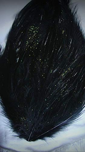 1 Packet of Stardust Deep Jet Black Rooster Crafting Feather Pad - for DIY Craft Costumes Hats Pens Hair Accessories Trim Mask Wedding Home Party Decorations -