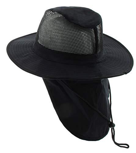 JFH GROUP Wide Brim Unisex Safari/Outback Summer Hat w/Neck Flap (Extra Large, Black)