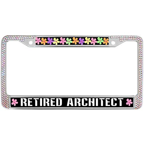 (Sutenking Retired Architect Shiny Rhinestone License Plate Metal Frame Multicolor Paws Dog Color Crystal Rhinestone Car Licenses Plate Frame with Screws Caps)