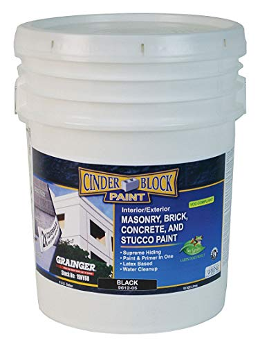 RAE  CINDER BLOCK PAINT  BLACK  Masonry Brick Concrete and Stucco Paint 5gallon