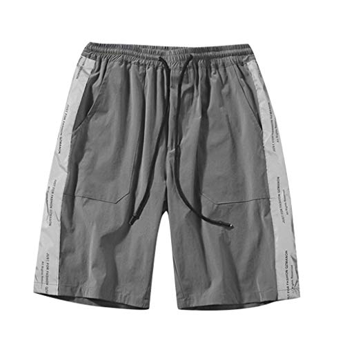 Summer Fashion Men's Stickers Pocket Tether Elastic Sports Pants Shorts, Mmnote Gray