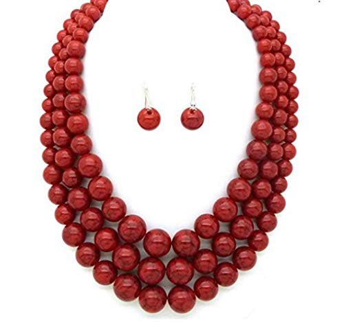 Affordable Wedding Jewelry Statement Layered Strands Coral Red Stone-Simulated Pearl Beads Chunky Necklace Set Fashion Women ()