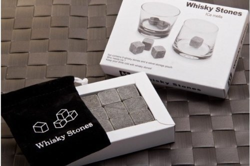 Whisky Stones Set of 9 Rounded Soapstone and Bag - These Smooth Square Rocks are Used to Replace Ice Cubes in Glasses - Chill Drinks Beverages Spirits Scotch - Includes Carrying Pouch - Great Gift for Man or Woman - Last Forever