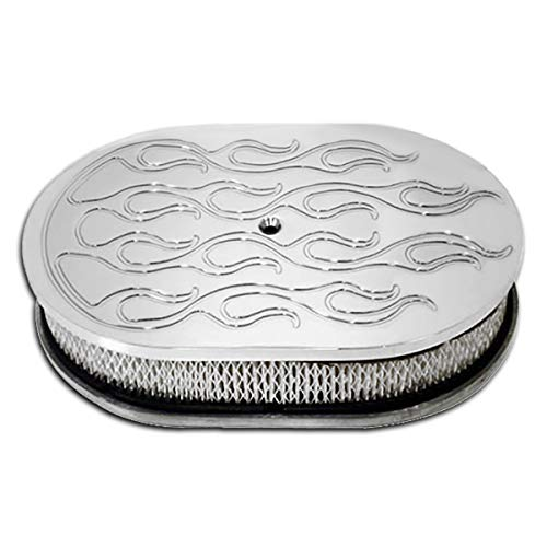 Fits 5 1/8″ Neck 4 Barrel 12″ Oval Polished Aluminum Air Cleaner Ball Milled