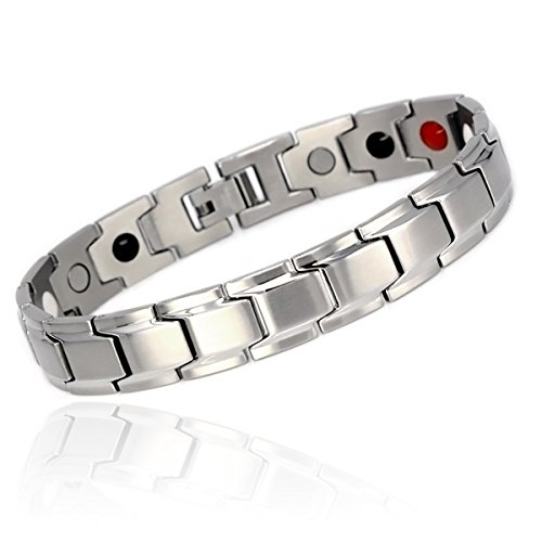 Steel Quad - Novoa Men's Quad-Element Brushed Stainless Steel Magnetic Bracelet - 12,800 Gauss B422