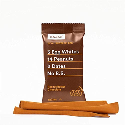 RXBAR Real Food Protein Bar, Peanut Butter Chocolate, Gluten-free, 1.83 oz, 12 Count
