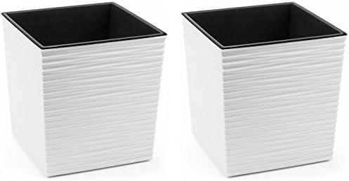 MelTom XXL Pflanzk/übel aus Kunststoff in Hochglanz Farbe 40 x 40 x 41 cm Wei/ß mit Herausnehmbaren Einsatz in cm