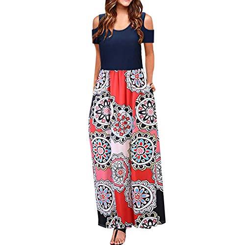 (MURTIAL Women' Long Dress Cold Shoulder Poet Floral Print Elegant Maxi Short Sleeve Casual Dress Party Dress(Red2,S))