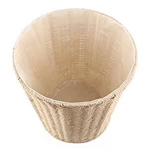 Paper wastebasket fcoson rattan woven storage baskets decorative round trash can for for Bedroom waste baskets decorative