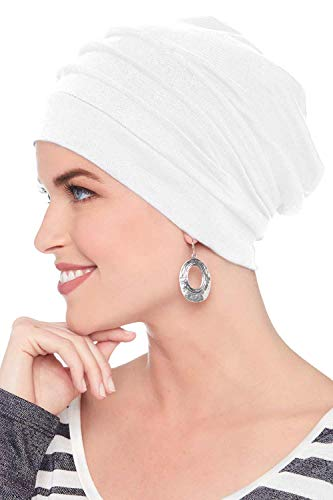 Headcovers Unlimited Slouchy Snood-Caps for Women with Chemo Cancer Hair Loss White