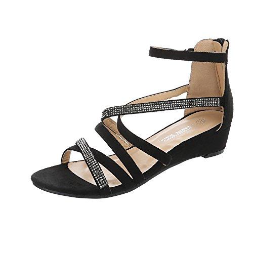 Ital-Design Keilsandaletten Damenschuhe Keilsandaletten Keilabsatz/Wedge Keilabsatz Reißverschluss Sandalen & Sandaletten Schwarz