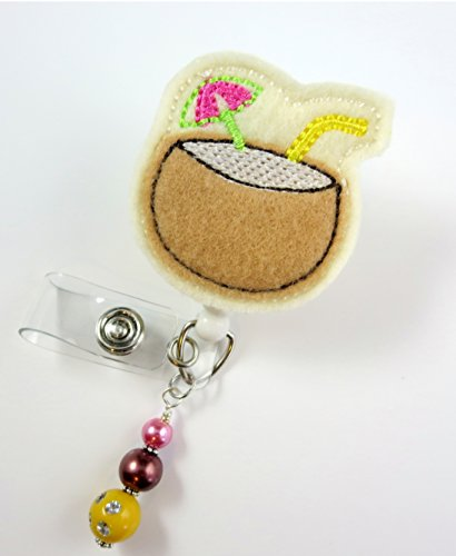 Coconut Beach Drink - Nurse Badge Reel - Retractable ID Badge Holder - Nurse Badge - Badge Clip - Badge Reels - Pediatric - RN - Name Badge Holder