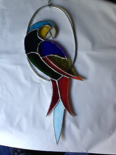 Freestyle Tail - Parrot Light Blue Tail Feather Free Style Stained Glass Art