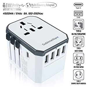 USB Type C Travel Power Plug Adapter - 5 USB Ports (4 USB Type A + 1 USB Type C) Wall Charger - for Type I C G A Outlets 110V 220V A/C - 5V D/C - EU Euro US UK - European Adaptor World by SublimeWare by SublimeWare