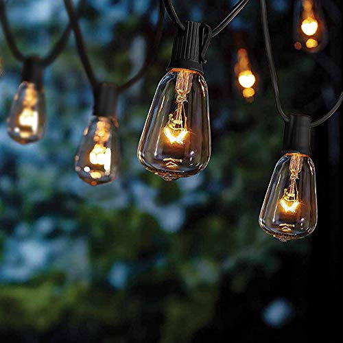 Goothy 10Ft Outdoor Patio Christmas String Lights,Set of 10 Glass ST38 Edison Style Bulb String Lights Garden/Backyard Party/Wedding Outdoor String Lights(Plus 1 Extra Bulbs) (Christmas Allen Lights)
