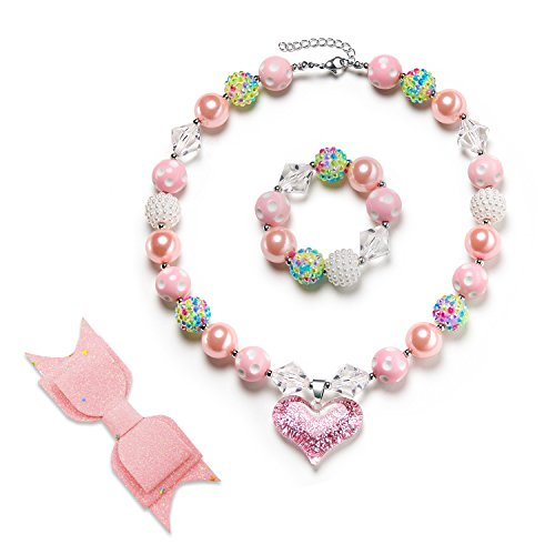vcmart Gilitter Chunky Bubblegum Beads Girls Necklace & Bracelet & Hairpin Set with Gift Box