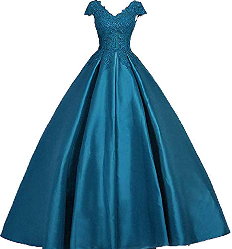 Scarisee Women's Ball Gown V-Neck Lace Appliqued Prom Dresses Capped Sleeves Beaded Evening Party Gowns Formal Teal 10