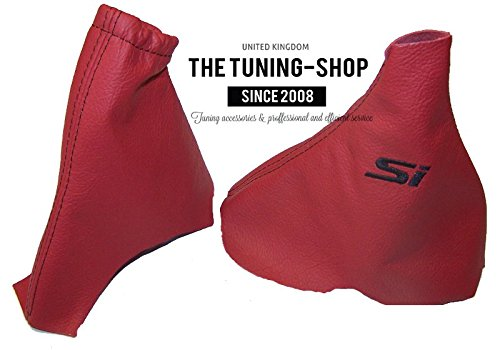 for Honda Civic Hatchback 2012-15 Shift & E Brake Boot Red Genuine Leather Black Si Embroidery The Tuning-Shop Ltd