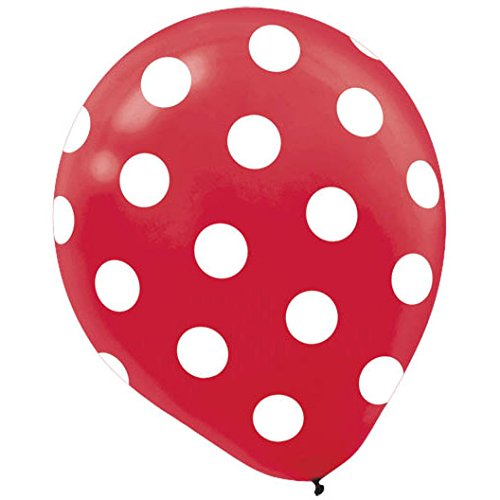 Polka Dots Red Latex Balloons | Pack of 6 | Party Decor -