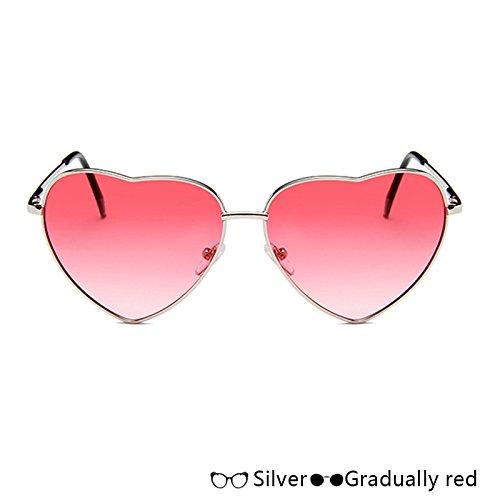 W Moda Gafas De En De Corazón Gafas Sol red TIANLIANG04 Rosa Azul Lujo De Oro W Sol Forma Silver Atrás De De Mujer 1qwtd8C