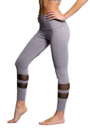 Women's Stretch Patchwork Mesh Yoga Sports Leggings Tights Pants (XL, Gray)