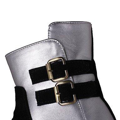 Otoño Hasta Botas Robusto Dedo Semicuero Nobuck Mujer Tacón Best Tobillo Botines redondo el Zapatos de Botas beige Moda Cuero Botas 4U® Invierno hasta x1YqnpwF