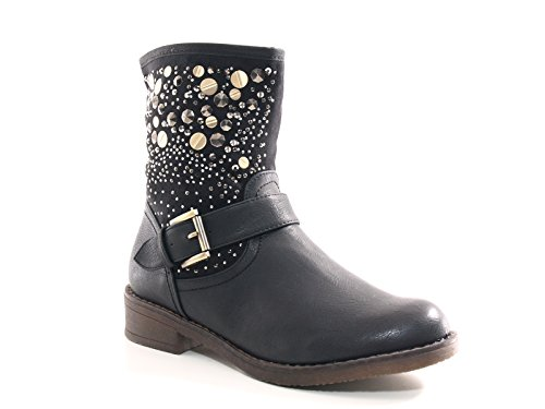 Damen Stiefel warm gefütterte Stiefeletten Boots Black # 549