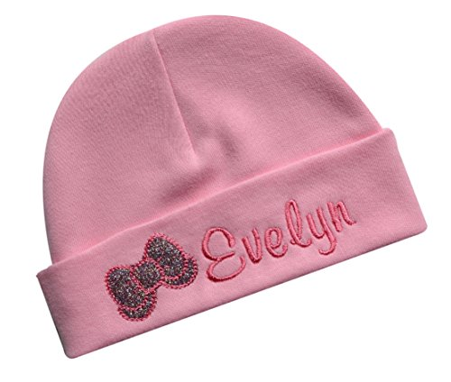 Personalized Embroidered Baby Girl Hat with Sparkling Glitter Bow with Custom Name (Pink)