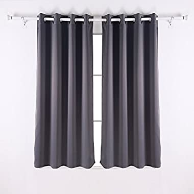 Deconovo Solid Grommet Thermal Insulated Curtain Home Decor 52 Inch Wide by 63 Inch Long Dark Grey 1 Pair