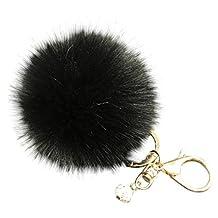 Susenstone Fluffy Faux Rabbit Fur Ball Charm Car Keychain Handbag Key Ring (L)