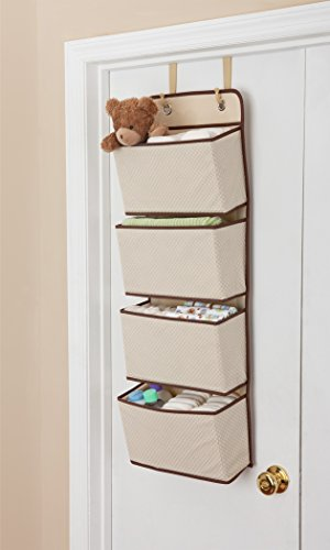 Delta Children 4 Pocket Over The Door Hanging Organizer, Beige