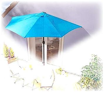 Amazon De Imc Sonnenschirm Halbrund Turkis Blau Balkon Mit Kurbel
