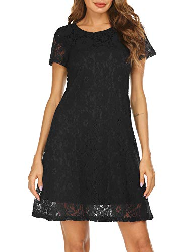 Misses Cocktail Dresses - Women's Short Sleeve Floral Lace Elegant Cocktail Party A-Line Mini Dress (Medium, Back-1)
