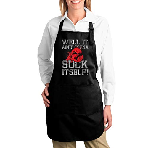 Michgton Well It Gonna Suck Itself Crawfish Canvas Kitchen Chef Bib with Pocket Adjustable for Cooking