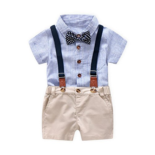 Kstare Baby Boys Outfits Gentleman Bowtie Short Sleeve Shirt+Suspenders Shorts Clothes Set (18-24M, Blue)