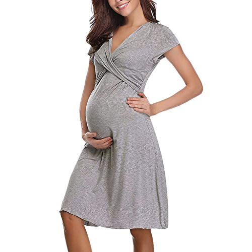(Iusun Women's Maternity Plus Size Dress Mom Nursing Short Sleeve Baby Breastfeeding Blouse Pregnants Nightdress Sundress Daily Wearing)