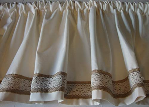 Valance Ivory Off-White with Burlap Lace Trim Custom Made Topper Window Treatment by The Sweet and Simple Home