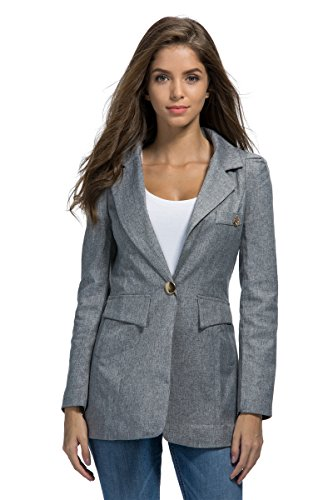 SHUIANGRAN Women's OL Casual One Button Jacket Long Sleeve Office Blazer (tag Asian 3XL) Gray US 8