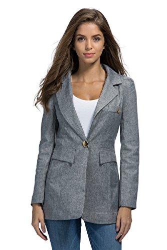 My Wonderful World Women's OL Casual One Button Jacket Long Sleeve Office Blazer (tag Asian 3XL) Gray US (Long Suit Jackets Women)