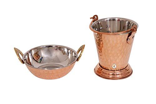 Copper Steel Kadhai Wok Bowl (15 Oz) With Balti (15 Oz) (Wok Copper)