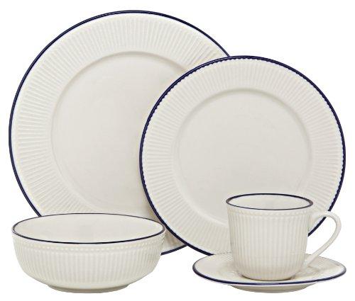 Melange New Italian Villa Porcelain 20-Piece Place Setting, Blue, Serving for (Blue 20 Piece Place Setting)