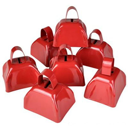 Red Metal Cowbell Noisemakers Set - School Cowbells 12 Pack - Play Kreative ()