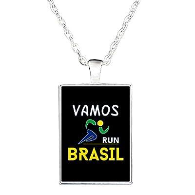 Love Brazil Runners Go Team Brasil Running Gift Idea - Necklace