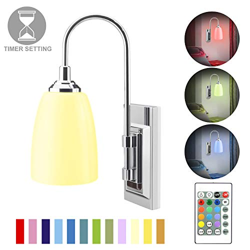HONWELL Wall Lamp Battery Operated LED Wall Sconce Indoor Wireless Multi Color Wall Sconce Light Fixture for Room Lighting, Stick Lights for Wall Kitchen Hallway Bathroom, 12 Colors, Remote Controlled (Wall Lighting Operated Battery)