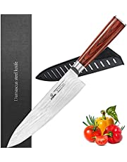 """Professionele keuken 8"""" Chef Mes - 67 Lagen VG-10 Damascus Staal Mes, Ultra-Sharp Koken Mes met Ergonomisch Hout Handvat, Schede & Schoonheid Geschenkdoos"""