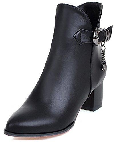Aisun Kvinna Metalliska Hängande Spänne Rem Inuti Zip Upp Spetsiga Toe Bytar Chunky Mitten Hälen Boots Med Dragkedja Svart