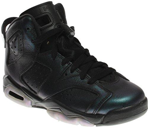Jordan Nike Kids Air 6 Retro AS BG Black/Black White Basketball Shoe 6 Kids US